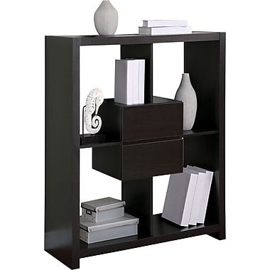 Monarch Specialties Hollow-Core Bookcase with Storage Drawers, Cappuccino