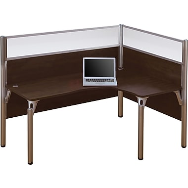 Bestar Pro-Biz Office System Single Right L-Desk Workstation, Full Wall, Chocolate