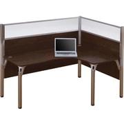 Bestar Pro-Biz Office System Single Right L-Desk Workstation, Full Wall, Chocolate