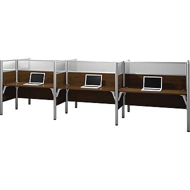 Bestar Pro-Biz Office System Six Straight Desk Workstation, Full Wall, Chocolate
