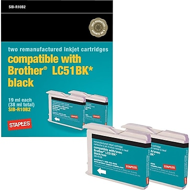 Staples® Remanufactured Black Ink Cartridges, Brother LC51BK (SIB-R10B2), Twin Pack