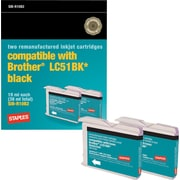 Staples Remanufactured Black Ink Cartridges, Brother LC51BK (SIB-RLC51B2), Twin Pack