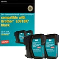 Staples® Remanufactured Black Ink Cartridge, Brother LC61BK, 2/Pack