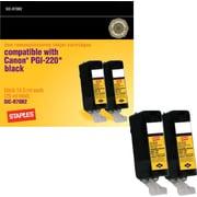 Staples® – Cartouches d'encre noire remises à neuf, Canon PGI-220, paquet double (SIC-R70B2)
