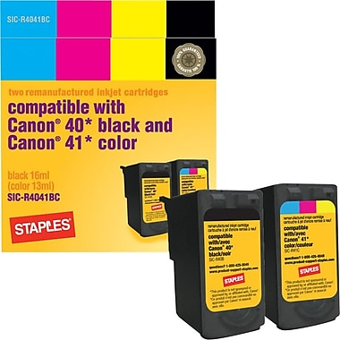 Staples Remanufactured Black and Tricolor Ink Cartridges, Canon PG-40/CL-41 (SIC-R4041CP), Combo 2/Pack