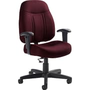 Global Deluxe Computer and Desk Fabric Office Chair, Adjustable Arms, Red