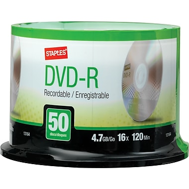 Staples® 4.7GB DVD-R, 16x, 50-Pack Spindle