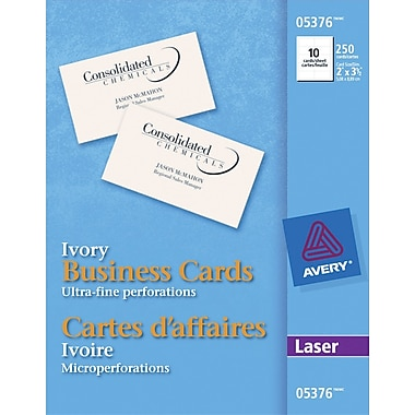 """Avery Perforated Laser Business Cards 3 1 2"""" x 2"""" Ivory"""