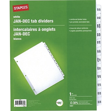 Staples® Preprinted Divider Tabs, Jan-Dec., Assorted Colours - Buff/White (colour choice not available)