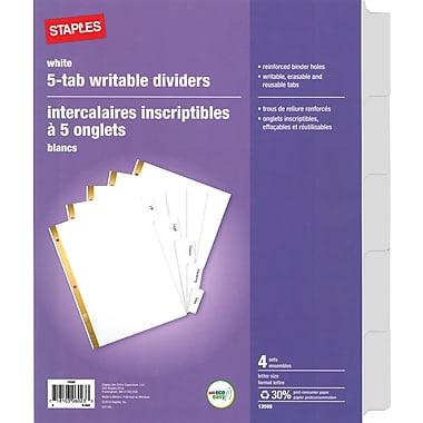 Staples® Erasable White Tab Dividers