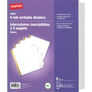 Staples® Erasable White Tab Dividers