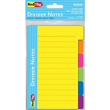Redi-Tag® Divider Notes with Tabs, Assorted Colors, 60/Pk