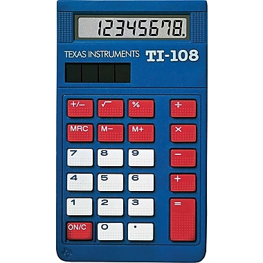 Texas Instruments® TI-108 8-Digit Display Calculator, 10/Pack