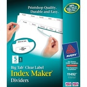 Avery® Index Maker Clear Label Presentation Dividers, 5-Tab, White, 5 Set/ Pack