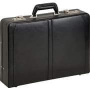SOLO® Leather Expandable Laptop Briefcase, Black, 15.4in.