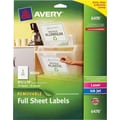 Avery® 6470 Removable Full Sheet White Labels 6470, 8-1/2in. x 11in., 10/Pack