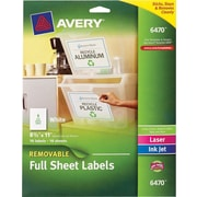 Avery® 6470 Removable Full Sheet White Labels 6470, 8-1/2 x 11, 10/Pack