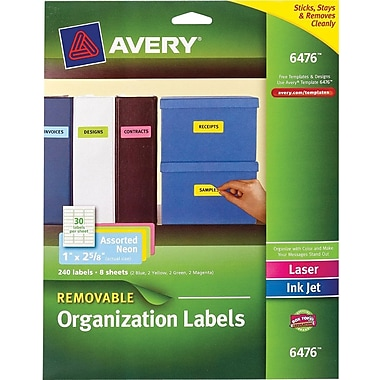 Avery® 6476 Removable Assorted Neon Organization Labels, 1in. x 2-1/4in., 240/Box