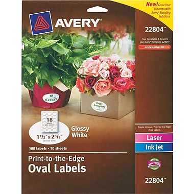 Avery® 22804 Easy Peel® Print-to-the-Edge White Oval Labels, Glossy, 1-1/2