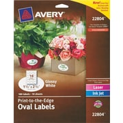 "Avery® 22804 Easy Peel® Print-to-the-Edge White Oval Labels, Glossy, 1-1/2"" x 2-1/2"", 180/Box"