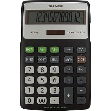 Sharp® EL-R287BBK 12-Digit Display Calculator