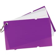 Staples® Ruled Index Cards on a Ring, Purple Poly Cover, 3 x 5