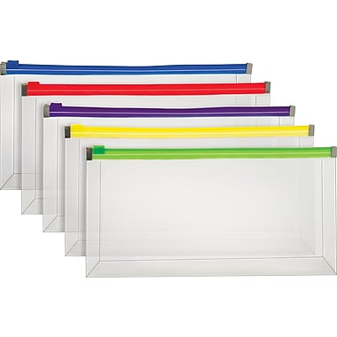 Staples® Poly Zip Envelopes, Assorted Color Zip, Check Size