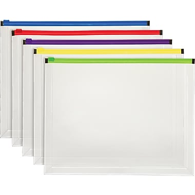 Staples® Poly Zip Envelopes, Assorted Color Zip, Letter Size