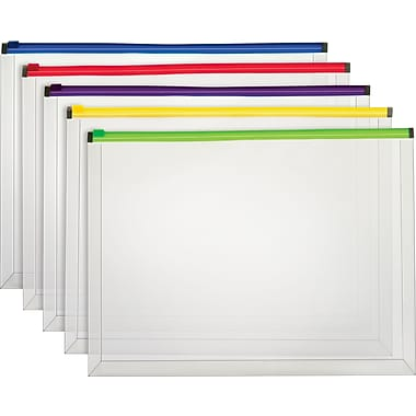 Staples Poly Zip Envelopes, Assorted Color Zip, Legal Size
