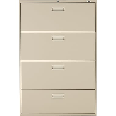 Staples® Lateral File Cabinet, 4-Drawer, Sand