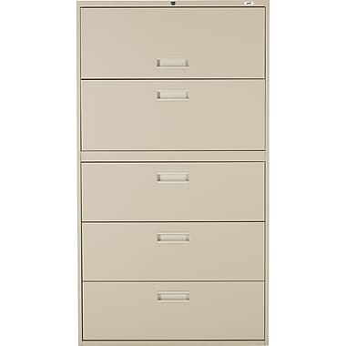 Staples® Lateral File Cabinet, 5-Drawer, Sand