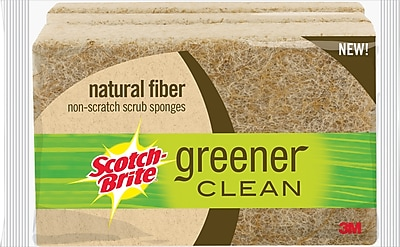 3M Scotch Brite Greener Clean Natural Fiber Non Scratch Scrub Sponges 3 Pack
