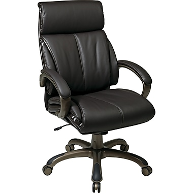 Office Star WorkSmart Brown High-Back Eco Leather Executive Chair, Fixed Arms