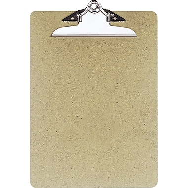 OIC® Recycled Hardboard Clipboard, Letter, Brown, 9in. x 12 1/2in.