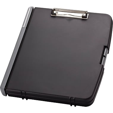 OIC® 3-Ring Storage Clipboard, Charcoal, 12in. x 13in.