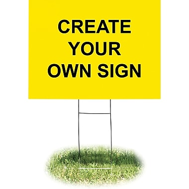 Headline Sign® Corrugated Plastic Sign with Wire Stand, Yellow, 18