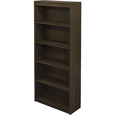 Bestar Commercial Bookcase, 5-Shelf, Grey-Brown Teak