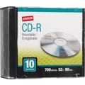 Staples 10/Pack 700MB CD-R, Slim Jewel Cases