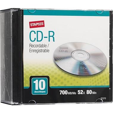 Staples® CD-R 52x 700MB/80min, Slim Jewel Cases, 10-Pack