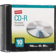 Staples® 10/Pack 700MB CD-R, Slim Jewel Cases
