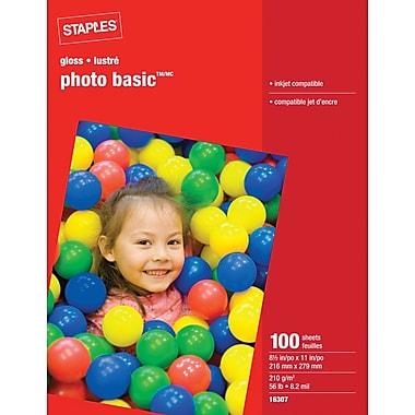 Staples® - Papier Photo lustré, 8 1/2 po x 11 po, lustré