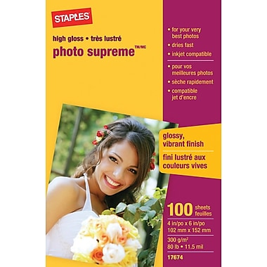 Staples® Photo Supreme Paper, Glossy, 4