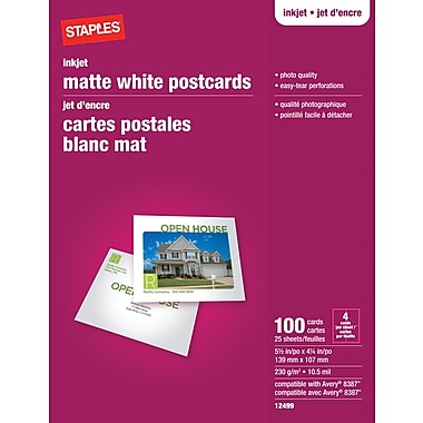 Staples® Inkjet Postcards, 5-1/2