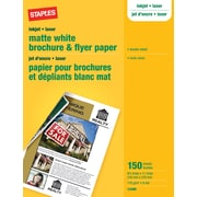 "Staples Brochure & Flyer Paper, 8 1/2 "" x 11"", Matte White, Double-Sided, 150/Pack"