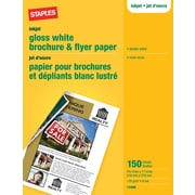"Staples Brochure & Flyer Paper, 8 1/2 "" x 11"", Glossy White, Double-Sided, 150/Pack"