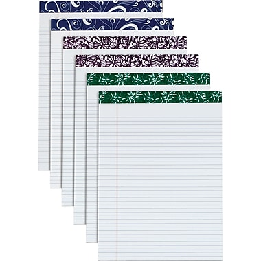 Fashion Perforated Writing Pads, Assorted Colors, 8-1/2in. x 11-3/4in.
