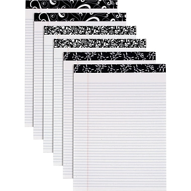 Fashion Perforated Writing Pads, Black & White, 8-1/2in. x 11-3/4in.