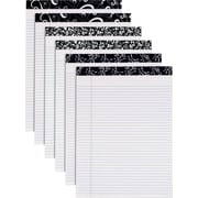 "Fashion Perforated Writing Pads, Black & White, 8-1/2"" x 11-3/4"""