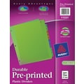 Avery® Preprinted Monthly Plastic Dividers, Jan.-Dec.,Multicolor
