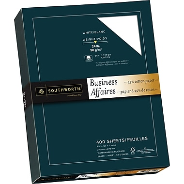 Southworth® 25% Cotton Business Paper, 24 lb, 8-1/2